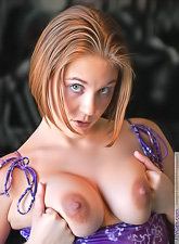 Violet FTV : Violet FTV takes her purple dress off and shows us her amazing round breasts.