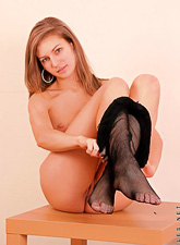 Tricia Nubiles : Tricia Nubiles takes her sexy black bodystockings off and shows her little boobs.