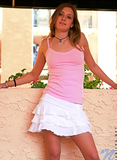 Lisa Nubiles : Lisa Nubiles takes her white mini skirt off outdoors and shows us her tight ass.